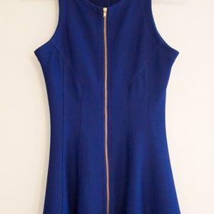 Aqua Zip Shift Dress - Cobalt Blue - Gold Accents